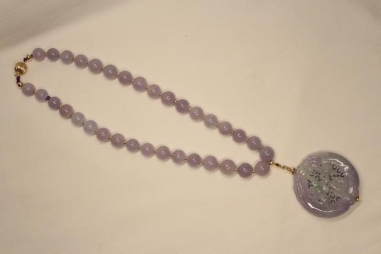 Chinese jadeite pendant w/ a jadeite bead necklace