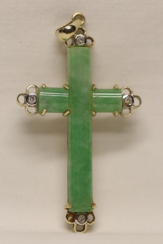 14K W/G jadeite cross w/ 4 small diamonds