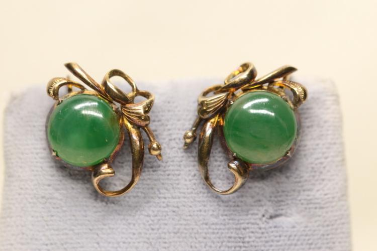 Pair early 20th c, 14K rose gold jadeite earrings