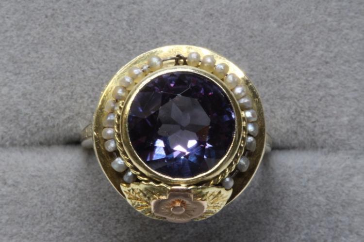 14K Y/G Victorian ring w/ amethyst & seed pearls