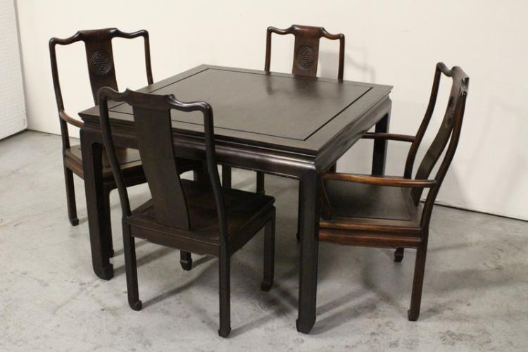 Chinese rosewood table with 4 rosewood chairs