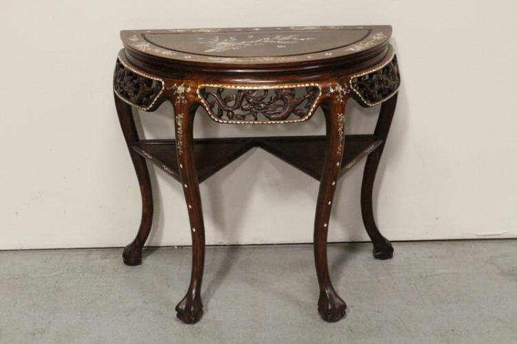 Chinese rosewood half moon table w/ MOP inlaid