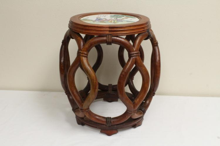 Rosewood drum table with porcelain top