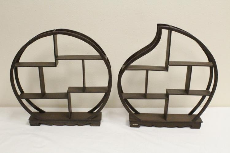 2 Chinese jichi wood table top display shelves