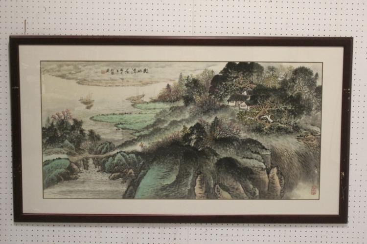 Large Chinese framed watercolor
