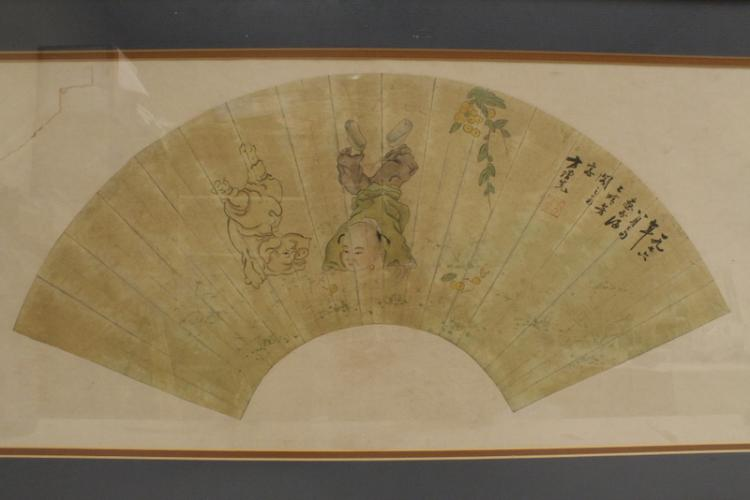 Chinese framed watercolor fan face