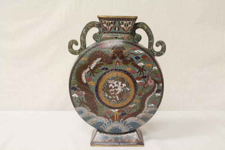 Chinese cloisonne enamel wine flask