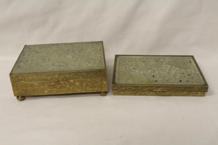 2 Chinese antique brass boxes w/ serpentine plaque