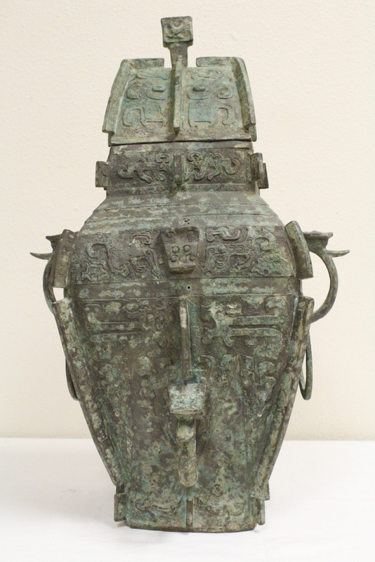 Large Chinese archaic bronze covered jar