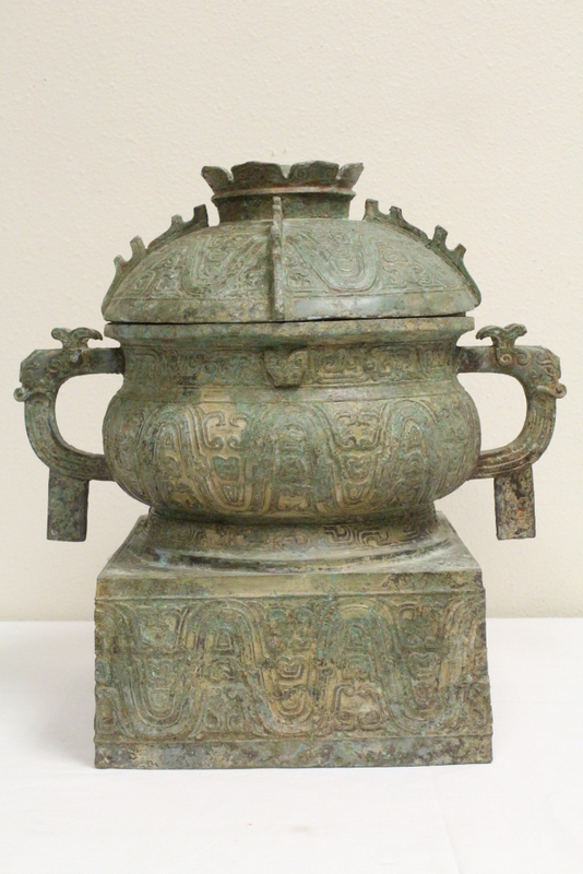 Unusual Chinese large archaic style bronze covered jar