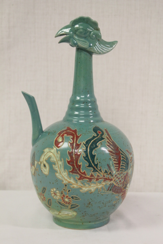 Very unusual green glazed porcelain wine ewer