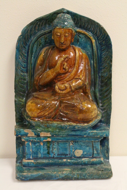 Chinese antique glazed pottery Buddha plaque