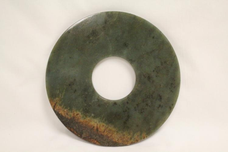 Large Chinese green jade carved disc