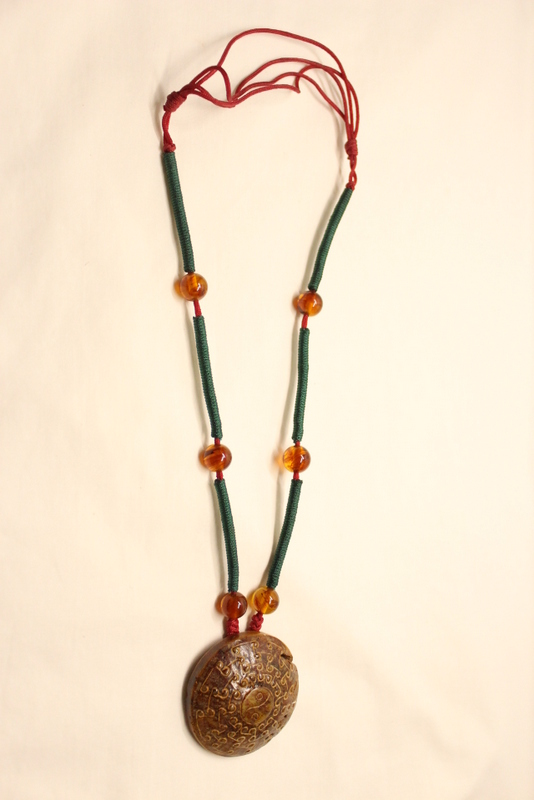 Chinese vintage jade ornament w/ bead necklace