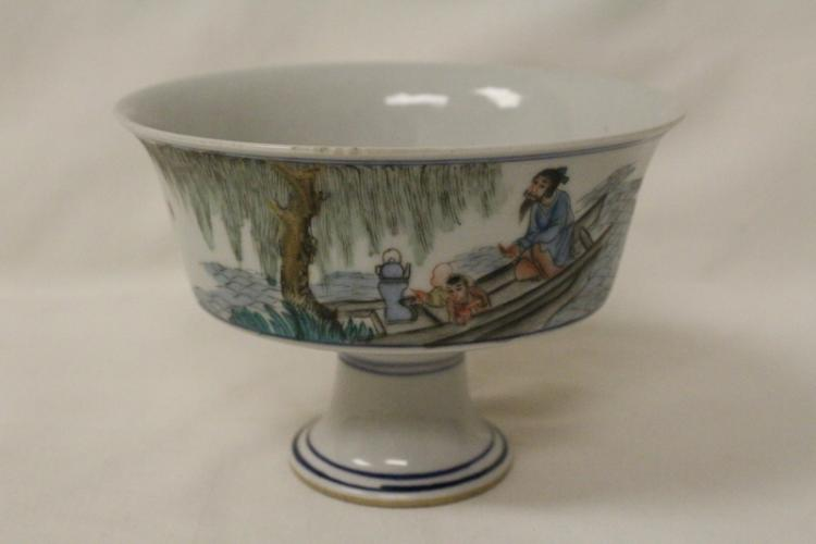 Chinese 19th/20th c. famille rose  stem bowl