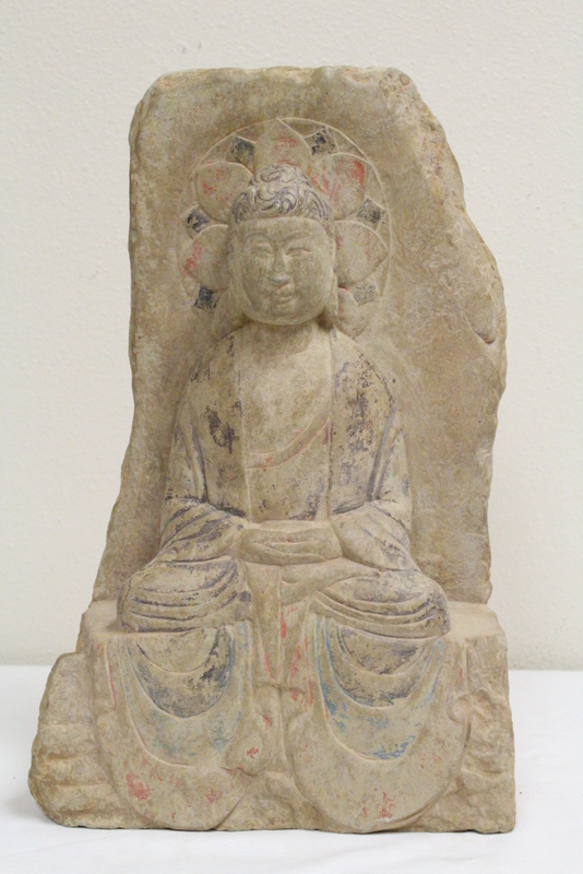 Chinese stone carved plaque with seated Buddha