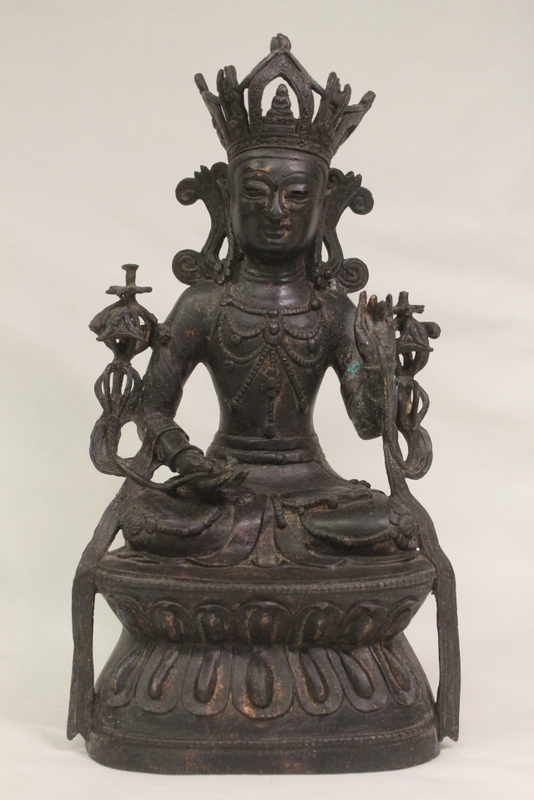 Chinese bronze sculpture of seated Buddha