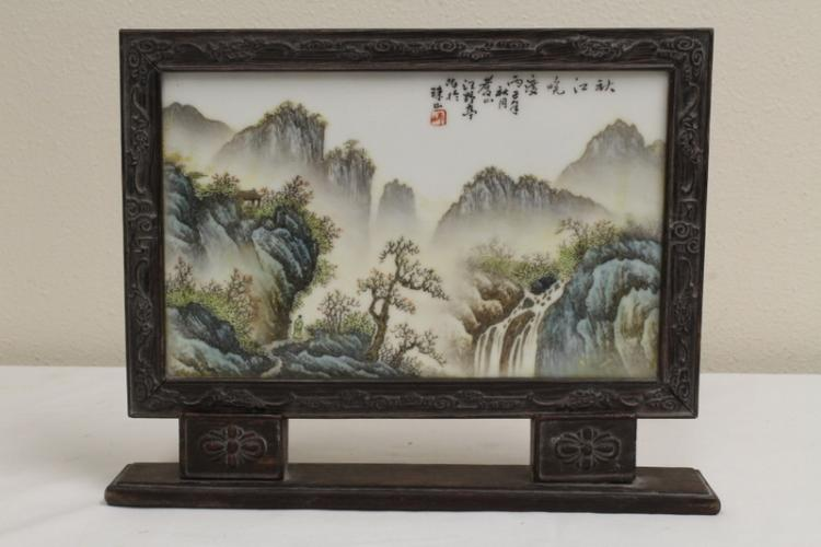 Chinese porcelain plaque on stand
