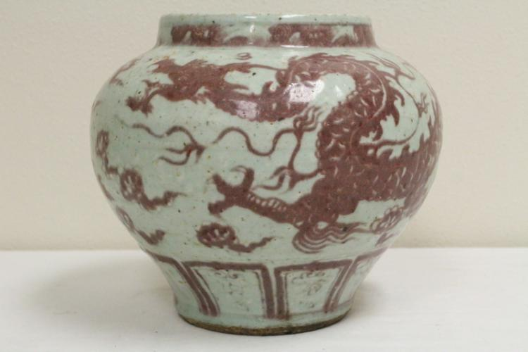 Chinese red and white porcelain jar