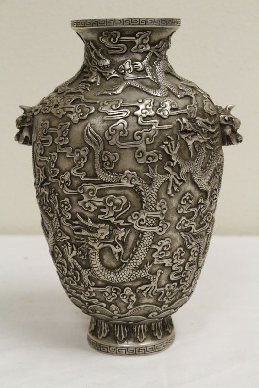 Chinese silver on bronze jar