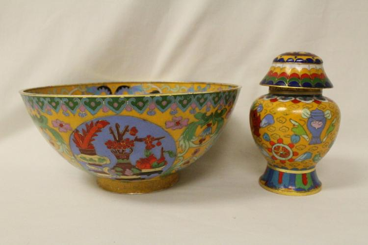 2 Chinese cloisonne pieces