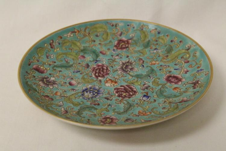 Chinese famille rose plate, Yungzheng mark