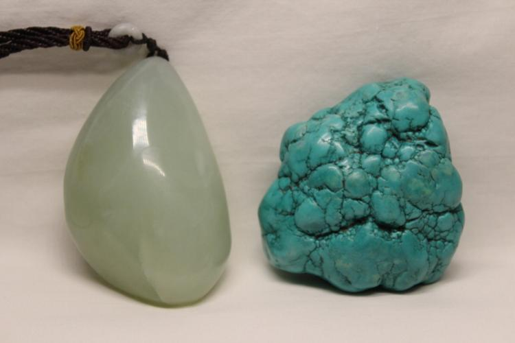 turquoise like stone boulder & a jade ornament