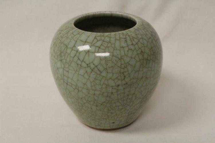 Chinese celadon crackle ware small jar