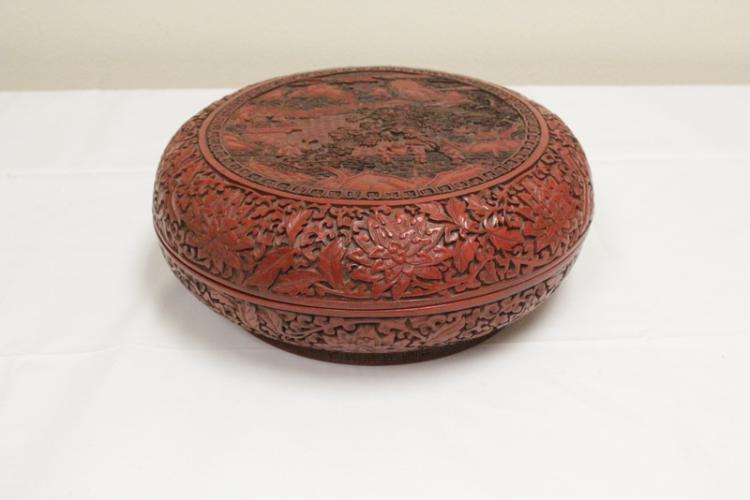Chinese cinnabar covered box