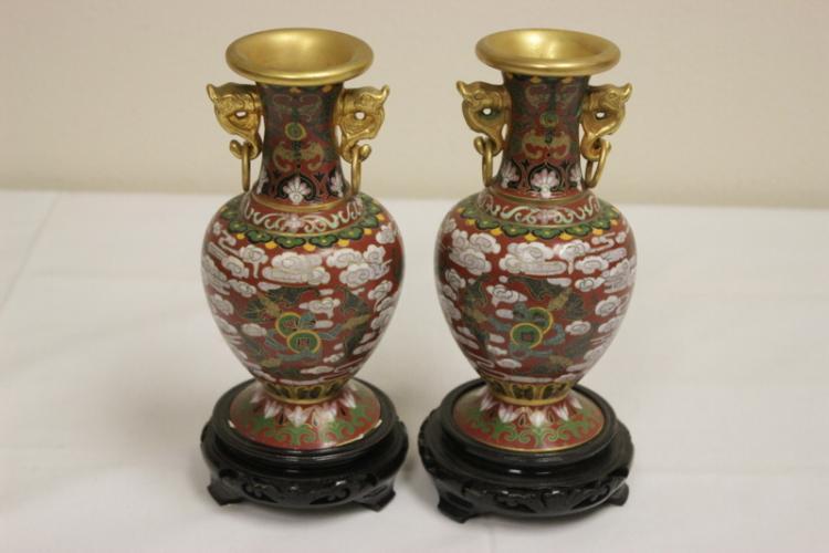 Pair Chinese gilt cloisonne vases