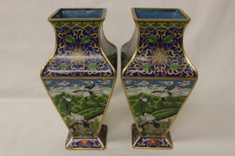 Pair beautiful Chinese square cloisonne vases