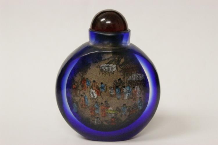 An inside painted blue Peking glass snuff bottle