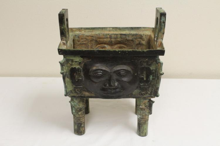 Chinese archaic style bronze square 4-feet ding