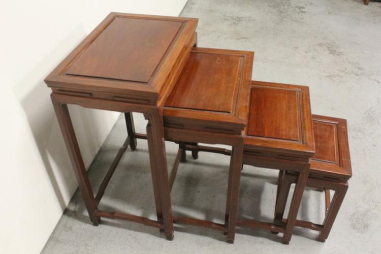 4 Chinese rosewood stackable tables