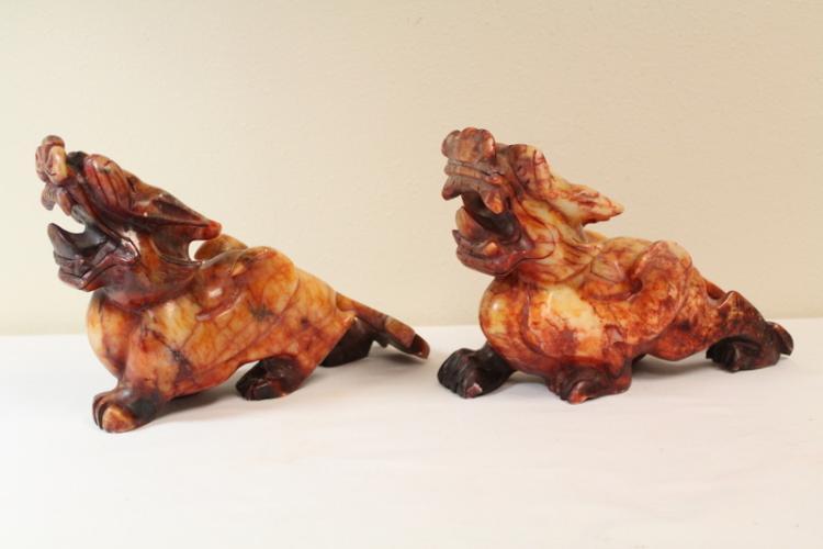 Pair large Chinese shoushan stone qilin