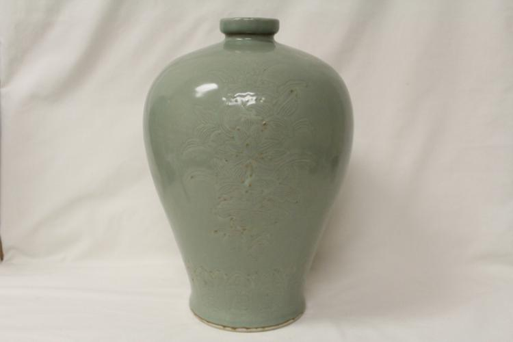 Chinese celadon meiping engraved with flowers