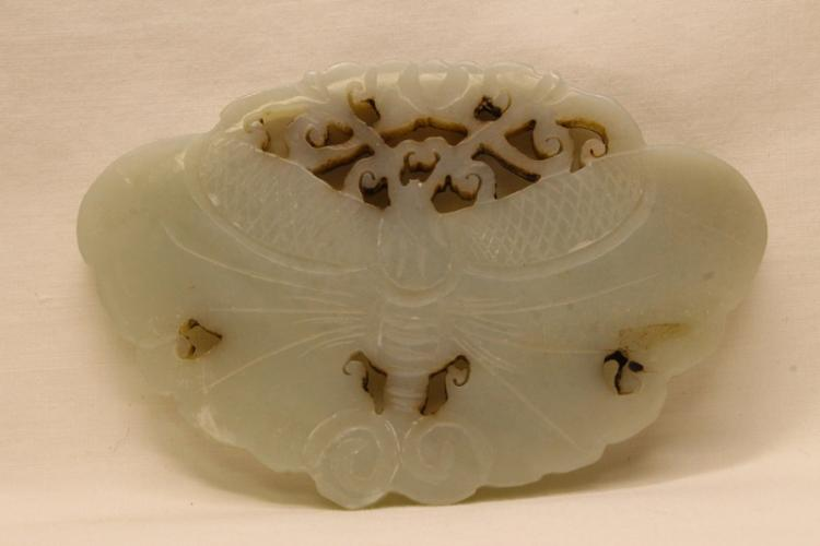 Chinese celadon jade carving depicting butterfly
