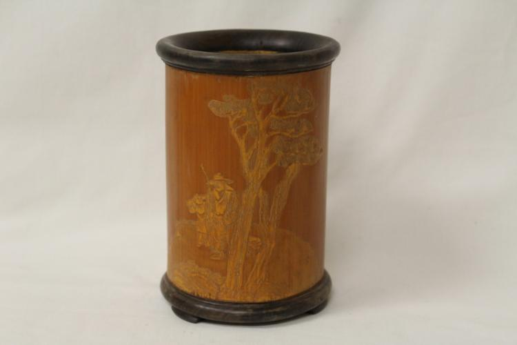 Bamboo brush holder with calligraphy