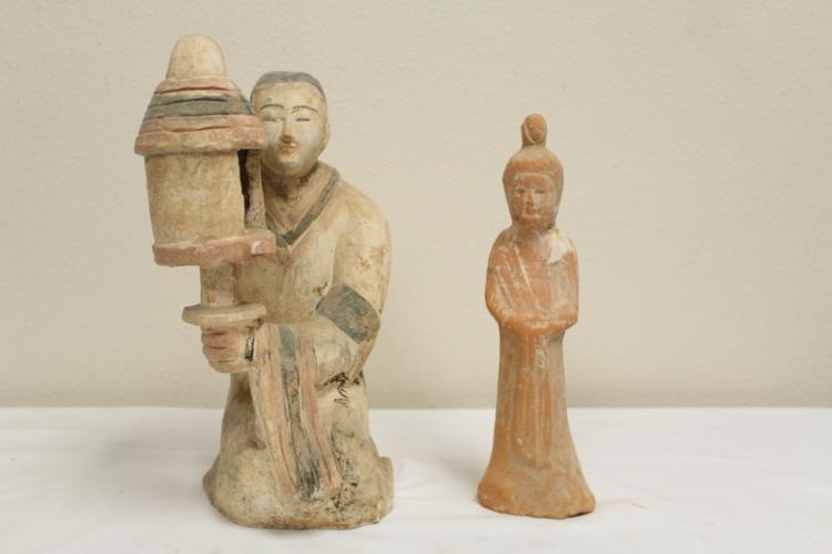 2 Tang style pottery attendants