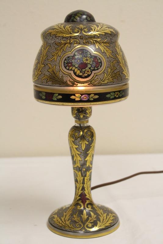 19th century Austrian art glass night lamp