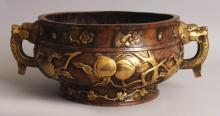 Chinese Imperial Gilt & Coppered Bronze Incense Burner