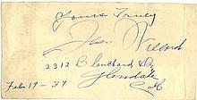 AUTOGRAPHS: WILLARD JESS: (1881-1968) American