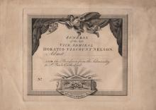 [NELSON HORATIO]: (1758-1805) British Admiral during the Napoleonic Wars, the victor of the Battle of Trafalgar, 1805. An unused oblong 4to printed invitation for the 'Funeral of the late Vice Admiral Horatio Viscount Nelson' (9th January 1806). With a blank space intended for the recipient's name, allowing them to be admitted 'into the procession from the Admiralty to St. Paul's Cathedral', the invitation features an etching of a heralding angel to the upper edge and at the foot, a sarcophagus with the word Trafalgar and crossed palms displayed upon it, together with a ribbon draped below the sarcophagus reading Palmam Qui Meruit Ferat (Let He Who Merits The Palm Possess It). Some dust toning to the edges and age wear, otherwise G