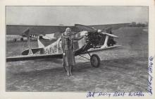 AVIATION: Roscoe Turner (1895-1970) American Aviator, three times winner of the Thompson Trophy. Brief T.L.S., Roscoe Turner, one page, 4to, Carter Hotel, Cleveland, Ohio, 23rd August 1938, to Mr. S. Pittman, on Turner's attractive colour printed stationery. Turner states that he is delighted to provide his correspondent with an autograph as requested; Mildred Bruce (1895-1990) Mrs. Victor Bruce. British record-breaking Aviatrix, Racing Motorist and Speedboat Racer of the 1920s and 1930s. Vintage signed postcard photograph of the aviatrix standing in a full length pose, wearing her flying hat and goggles, alongside her aircraft. Signed in blue fountain pen ink to the white border. Together with Hans Stuck (1900-1978) German Motor Racing Driver. Vintage signed postcard photograph (neatly trimmed to the edges), the composite image showing Stuck driving at speed in his racing car around a circuit and standing in a full length pose wearing his racing overalls and holding a small dog in his arms. Signed in bold black fountain pen ink with his name alone to a light area of the image. G to VG, 3