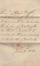 [WELLINGTON DUKE OF]: (1769-1852) Anglo-Irish Field Marshal & British Prime Minister 1828-30, 1834. Charles Diggle (??-??) British Army Officer. A.L.S., Leiut. Colonel Diggle, in the third person, one page, 8vo, Royal Marine College, 8th June 1843, to the Duke of Wellington. Diggle informs his correspondent that he 'will do himself the honour to dine with Field Marshal the Duke of Wellington on the 19th instant to celebrate the anniversary of the Battle of Waterloo.' With blank integral leaf. Together with Henry Howard (1791-1856) 13th Duke of Norfolk. British Peer and Politician. Signed free Front envelope panel, addressed in his hand to Field Marshal the Duke of Wellington, postmarked 8th November 1843. Signed ('Norfolk') to the lower left corner. With a red wax seal to the verso. Some very light staining and dust toning to the envelope cover. G, 2