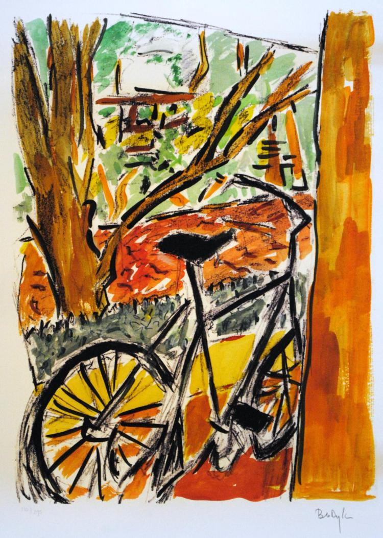 DYLAN BOB: (1941-    ) American Musician, Nobel Prize winner for Literature. A Giclée signed colour 27.5 x 22 limited edition print of a bicycle by a tree drawn by Dylan. Titled 'Bicycle'. Signed by Dylan and numbered 110 / 295 in his hand in bold pencil to the lower white border. With a certificate of authenticity from Washington Green Fine Art. Rolled, otherwise EX