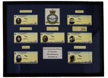 617 SQUADRON: An extremely rare, complete set of vintage signed cards by the seven Commanding Officers of No. 617 Squadron RAF during World War II comprising -   Guy Gibson (1918-1944) British Wing Commander, the first Commanding Officer of 617 Squadron, 21st March - 3rd August 1943. Victoria Cross winner for his actions during Operation Chastise (The Dambusters Raid) on the Mohne and Eder Dams in Germany, 16th May 1943. Rare, bold pencil signature ('Guy P Gibson W/C') on an oblong 12mo card.   George Holden (1913-1943) British Squadron Leader, the second Commanding Officer of 617 Squadron, 3rd August - 16th September 1943. Extremely rare, dark fountain pen ink signature ('G. W. Holden S/Ldr') on an oblong 12mo card.   Harold Martin (1918-1988) Australian Air Marshal, the third (Temporary) Commanding Officer of 617 Squadron,  16th September - 10th November 1943. Pilot of Lancaster ED909/G AJ-P of 617 Squadron on the Dambusters Raid, 16th May 1943. Martin was a crew member of the third aircraft to attack the Mohne Dam. Dark fountain pen ink signature ('Mick Martin') on an oblong 12mo card.   Leonard Cheshire (1917-1992) British Group Captain, the fourth Commanding Officer of 617 Squadron, 10th November 1943 - 12th July 1944. Victoria Cross winner for his flying operations during World War II. Dark fountain pen ink signature ('G L Cheshire') on a 12mo card.   James Tait (1916-2007) British Group Captain, the fifth Commanding Officer of 617 Squadron, 12th July - 29th December 1944. Dark fountain pen ink signature ('J. B. Tait') on a 12mo card.   John Fauquier (1909-1981) Canadian Air Commodore, the sixth Commanding Officer of 617 Squadron, 29th December 1944 - 28th March 1945. An amusing fountain pen ink signature ('J. E. Fauquier, Bomber Command') on an oblong 12mo card, with the additional words 'vs. P. McLaughlin, Coastal Command' beneath his signature, alongside a small original pen and ink colour cartoon sketch by Fauquier showing him standing in a full length pos