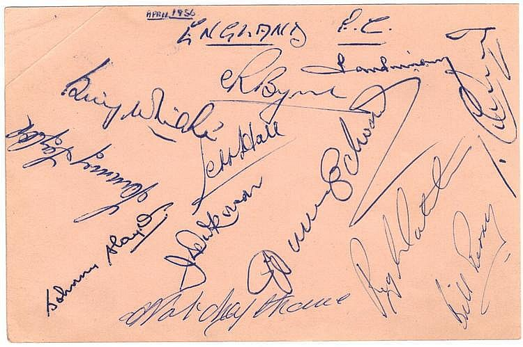 ENGLAND FOOTBALL: A page removed from an autograph