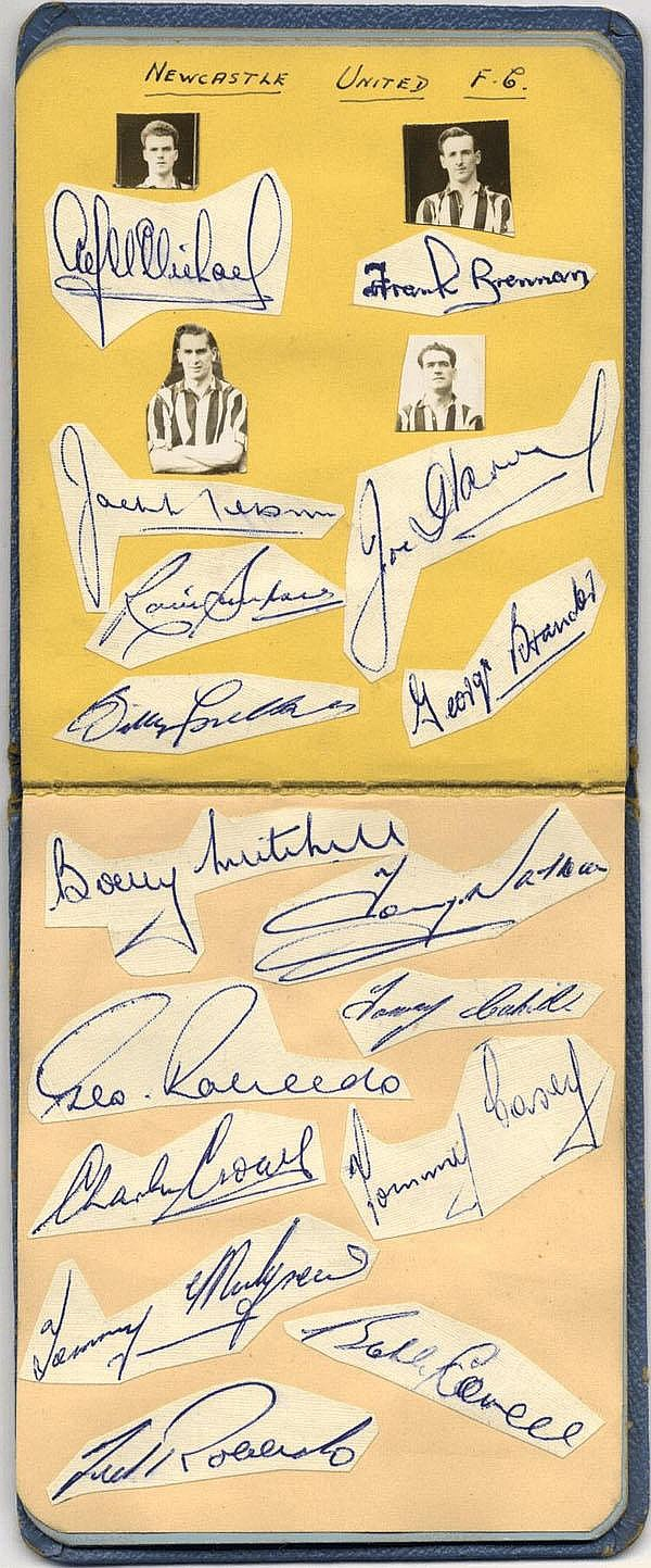 FOOTBALL: An autograph album containing many small