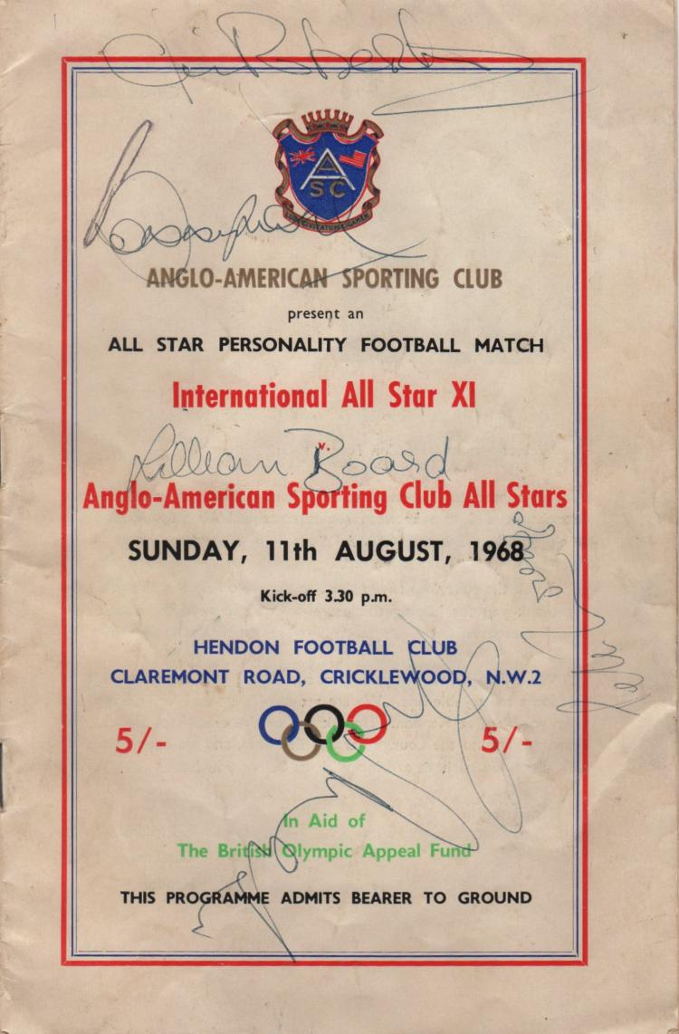SPORT: A printed 8vo programme for the Anglo-American